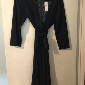 Size 12 wrap dress Ann Taylor blue and black